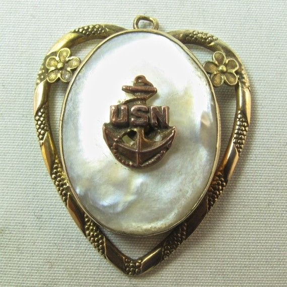 heart locket - vintage United States Navy