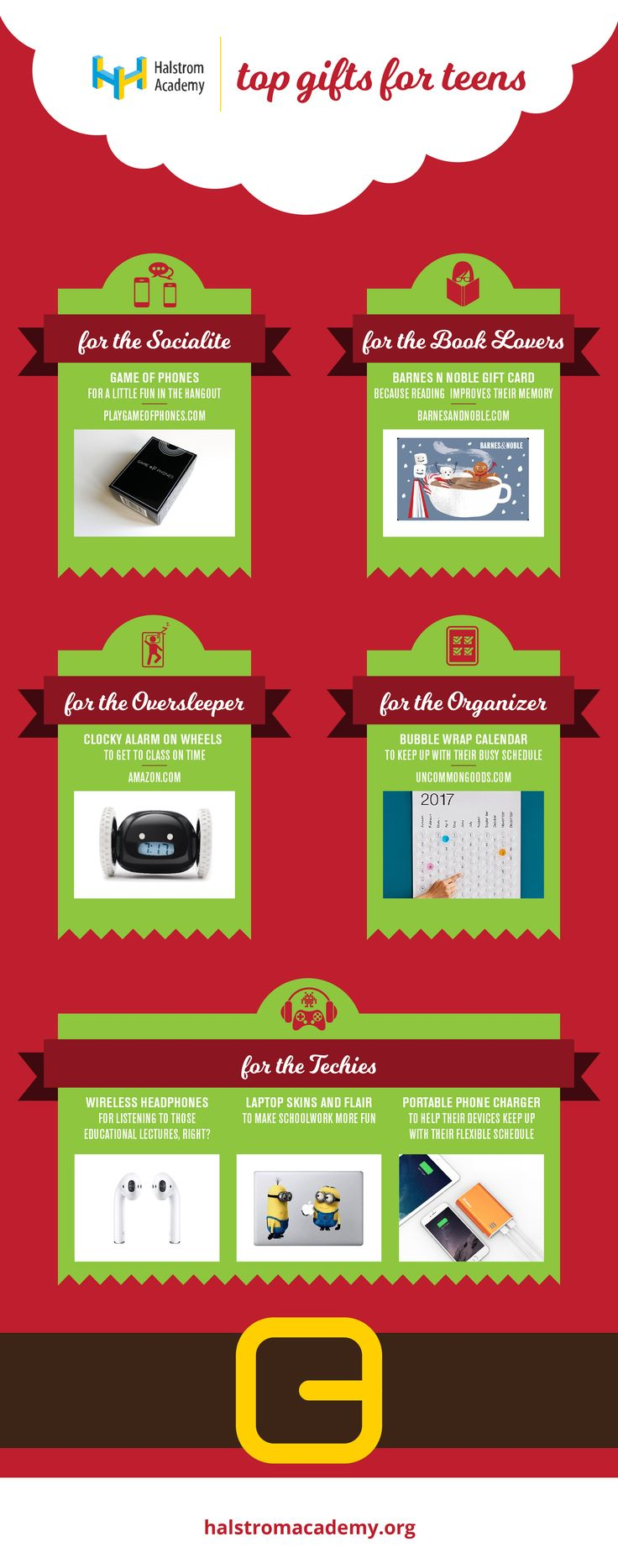 TOP HOLIDAY GIFTS FOR TEENS | LAST MINUTE GIFT IDEAS | BEST CHRISTMAS PRESENTS FOR TEENS | HALSTROM ACADEMY | Christmas and holiday gift ideas for your teen. Our 2016/2017 holiday gift list will help you find the  best gift for your teen. Holiday gifts for the socialites, the perfect gift for book lovers, the best Christmas presents for techies, organizers, and even the over-sleepers.