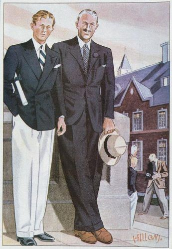1930s mens style inspiration. Classic navy blazer with white pants oozes 1930s summer fashion.