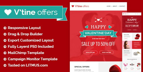 Here is a collection of the best responsive Valentines Email Marketing Templates for a valentine promotional newsletter.