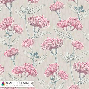 """Marjorie's Flowering Gum"" floral wallpaper / surface pattern design by Robyn Bockmann COPYRIGHT 2014."