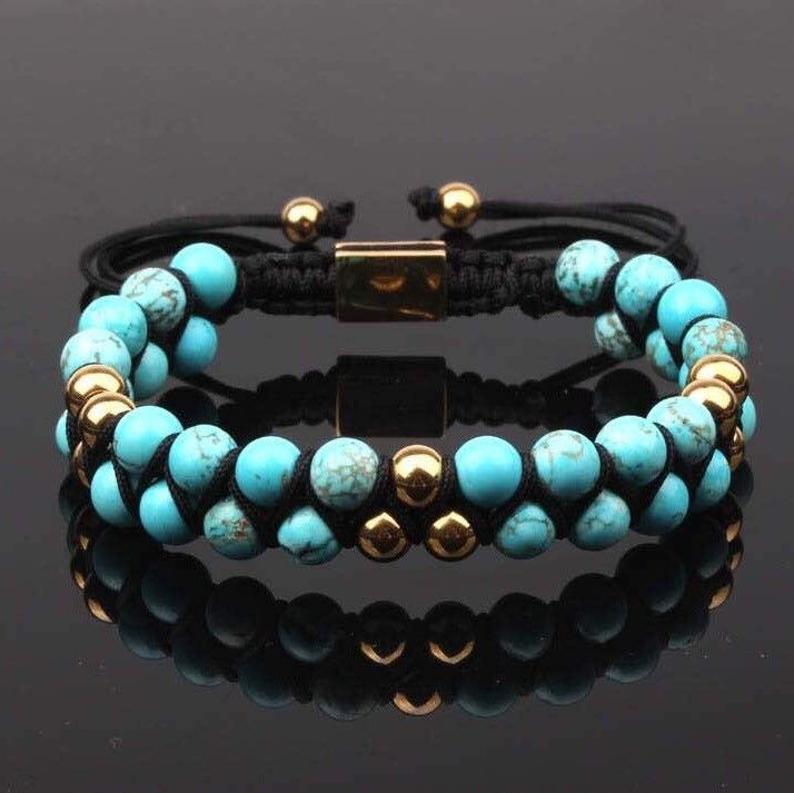 PRE-ORDERS : Bali Turquoise Double Beaded Bracelet 6mm