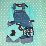 Adorable baby shower gift set for boys - Babygro with African felt embellishment, dungarees and black leather shoes with blue stripes