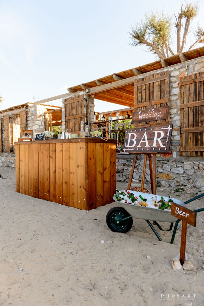 Villa Aethra  Paros   Event Planning Weddings In Paros Photography By Phosart   Lighting By Music Vibes   Bar Catering Ramantanis Bros  #weddingbar #woodenbar #mobilebar #beer #cocktails #drinks #baridea