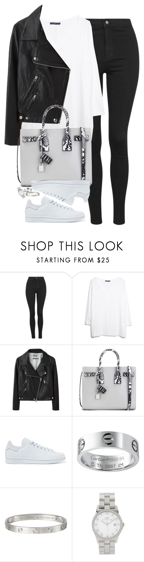 """""""Untitled #1218"""" by lovetaytay ❤ liked on Polyvore featuring Topshop, MANGO, Acne Studios, Yves Saint Laurent, adidas Originals and Marc Jacobs"""
