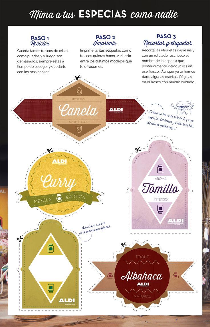 ¡Crea etiquetas originales y mima tus especias como nadie! #DIY #DecoraCasa #Cocina