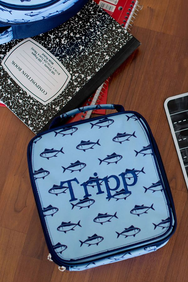 Help keep track of your child's lunch with these stylish, personalized soft-sided school lunch bags like this cute fish design.  Available in 6 pattern options. These lunch boxes are the perfect compliment to your back-to-school routine, making it easy for little ones to find their lunch come meal time. These lunch bags can be ordered at http://www.tippytoad.com/personalized-soft-sided-school-lunch-bags.asp