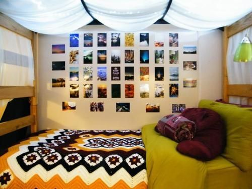 If you are on a bottom bunk, put up a gauzy curtain with fairy lights under it to hide the gross stains of the mattress above you! Dorm ideas, college dorm, dorm decor by erna