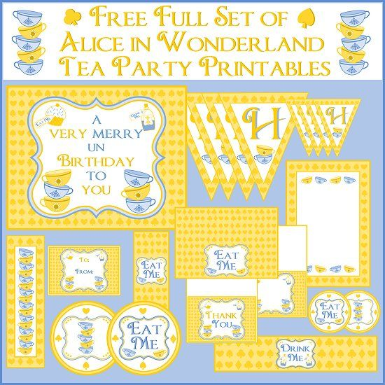Free Alice in Wonderland party printables #free @aliceinwonderland #party #birthday #printables: Wonderland Parties, Birthday Parties, Alice In Wonderland, Parties Printable, Tea Parties, Party Printables, Parties Ideas, Free Printable, Wonderland Teas Parties