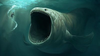 Scary fish in the ocean Wallpaper also om nom nom