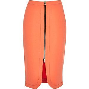 Jupe crayon orange corail zippée sur le devant