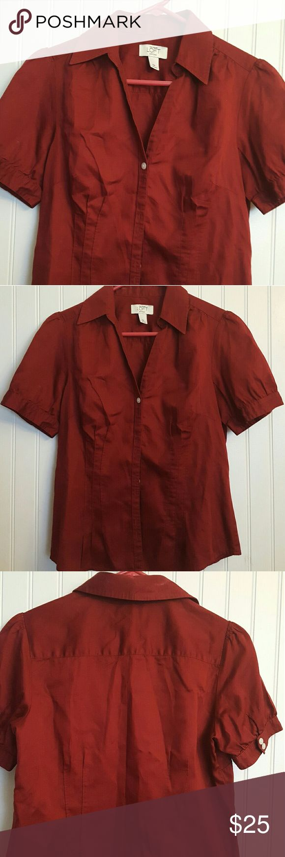 Cute Ann Taylor Loft Petites Shirt Burgandy Color, cotton button down shirt. Perfect with a little black skirt! Ann Taylor Tops