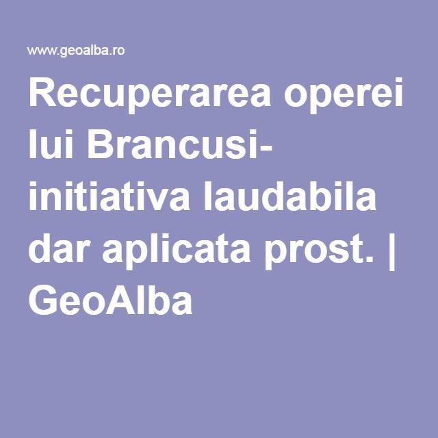 Recuperarea operei lui Brancusi- initiativa laudabila dar aplicata prost. | GeoAlba