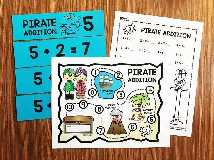 Kindergarten math facts with a pirate theme.  Students learn their facts as they work around a pirate map.  Great for kindergarten and first grade students from Simply Kinder.