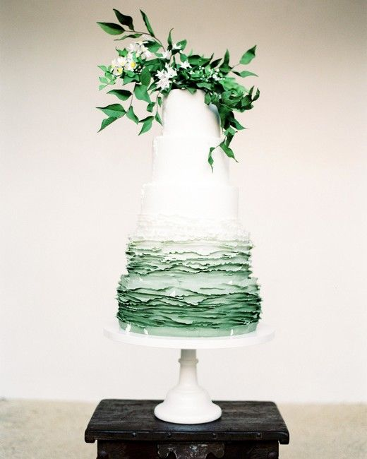 Wedding Cake Design Ideas That'll Wow Your Guests | Martha Stewart Weddings - The best part about this out-of-this-world wedding cake isn't only the subtle ombré. How amazing is it to watch this beauty go from smooth on the top to deckle-edged on the bottom? #modernweddingcakes #weddingideas #weddingcakes