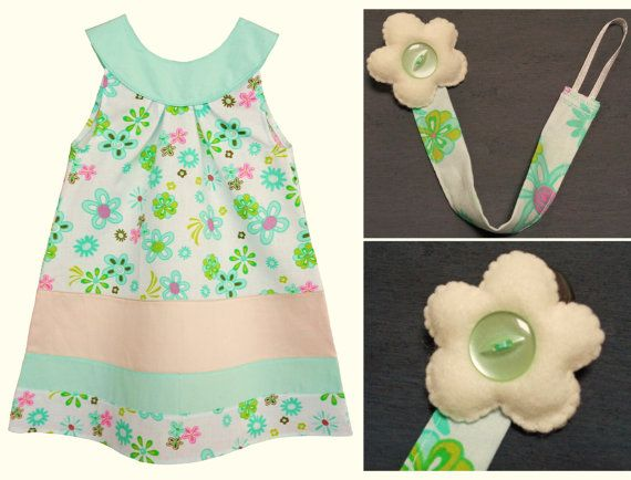 Completo bambina: abito in cotone + portaciuccio abbinato in verde menta con fiori. Outfit estate vacanze. Accessori bebè, accessori bambina - by RobyGiup