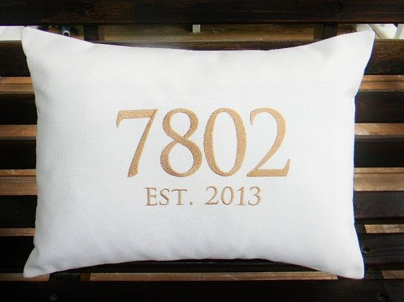 Lovely Monogrammed Outdoor Pillow Cover In Natural White By DesignsByThem