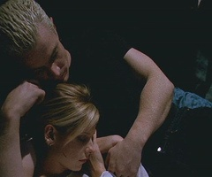 Buffy and Spike, the night before the Apocalypse. It was the tenderest and most purely loving moment of the show, Buffy and Spike in their Garden of Gethsemane.