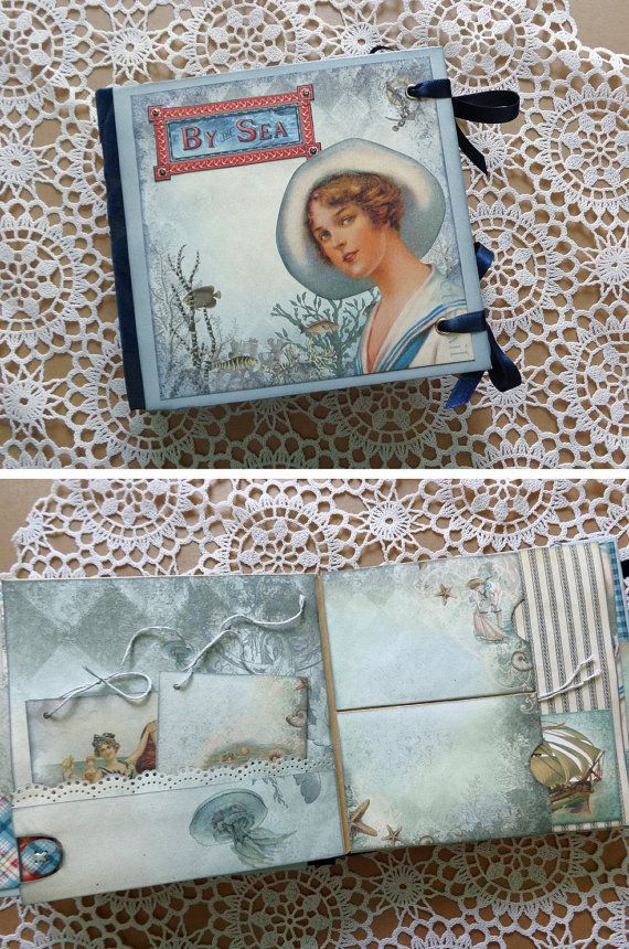 Mini nautical scrapbook photo album journal with a nostalgic