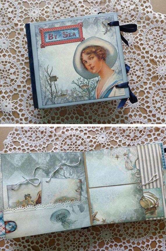 Mini nautical scrapbook photo album journal with a nostalgic