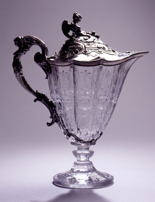 Silver mounted crystal antique Claret Jug designed for Tiffany & Co., by George Paulding Farnham, America, 1904.