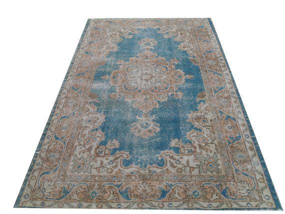 "6 '8"" X 3 '10""  204 X116 Cm---Beige BLUE teal  Vintage Handmade USHAK Pastel  neutral Turkish Rug, Overdyed Distressed Faded Carpet on Etsy, £148.55"