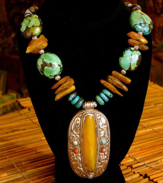 Turquoise Necklace - Antique Amber Pendant - Baltic Amber - Chunky Beaded Necklace - Statement Necklace - Ancient Jewelry - Beadwork. $485.00, via Etsy.