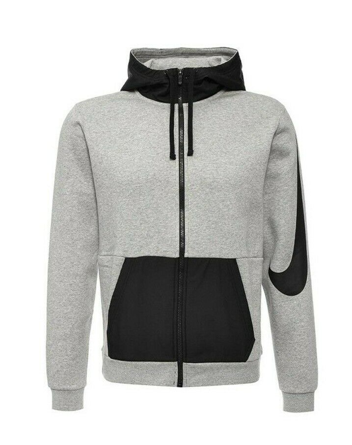 9739321d4 New Nike Mens Gray Swoosh Colorblock Full Zip Logo Sweatshirt Jacket ...