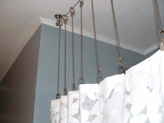 DIY Shower Curtain Rod: Track With Wires And Clamps. Could Do This On Just