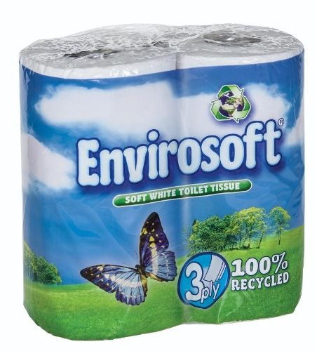 Envirosoft 3 ply 100% recycled toilet paper 40 rolls only £11.95.