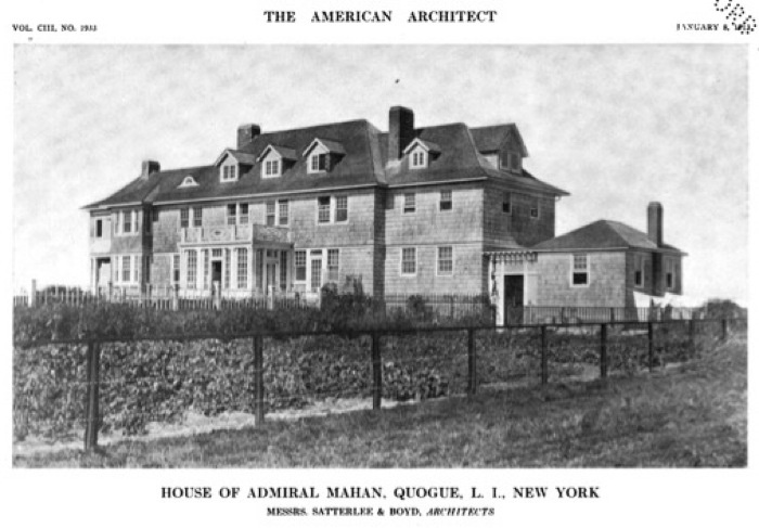 'Marshmere', the Admiral Alfred Thayer Mahan residence designed by Satterlee & Boyd in Quogue, with landscaping by Beatrix Jones Farrand. Admiral Mahan retired from the Navy in 1906 after writing a number of books on sea power and naval history.