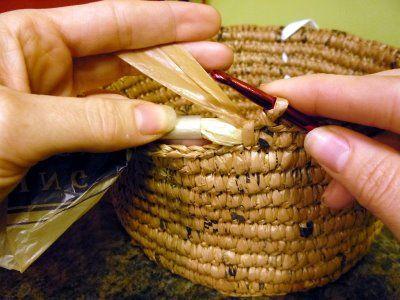 "Plarn baskets--using old plastic bags  as ""yarn"" to crochet storage bins!"