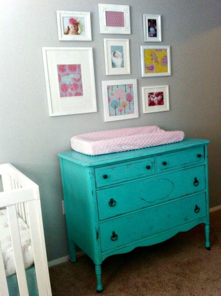 Project Nursery - Yellow, PInk, and Turquoise Girl Nursery Changer
