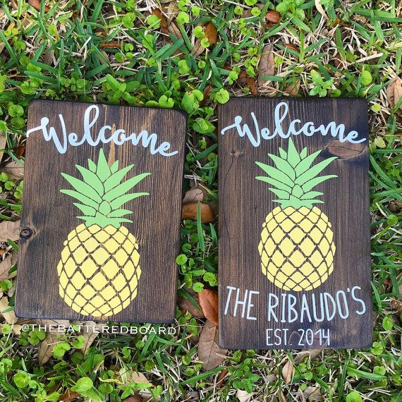 Pineapple Welcome Wood Sign or Personalized by TheBatteredBoard