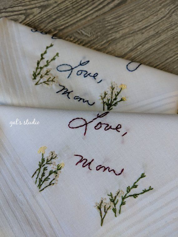 Custom wedding handkerchief, Embroidered handkerchief