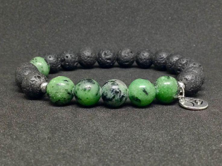 Pulsera de Zoisita y Piedra Lava,piedras semipreciosas,joyas de piedra,pulseras de piedras,piedras,regalo para hombre,regalo para él,regalos de DeMaiCreaciones en Etsy
