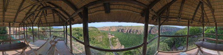 Top viewing site overlooking the suspension bridge at Lake Eland nature reserve, in Oribi Gorge. The bridge is 100 meters long