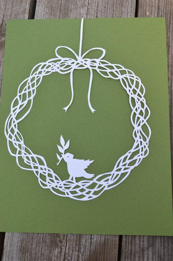 Grapevine Wreath with Bird. Original Paper Cut By by ScissorSnip -- Etsy shop