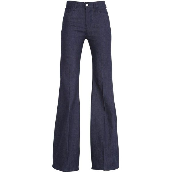 GIAMBATTISTA VALLI FOR 7FAM High Waisted Flared Cotton Denim Jeans ($350) ❤ liked on Polyvore featuring jeans, pants, bottoms, blue, highwaisted jeans, 5 pocket jeans, cotton denim jeans, high rise flare jeans and flare jeans