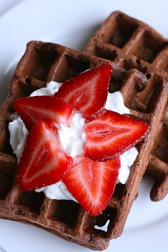 Chocolate waffle recipe.  Love the star strawberry slices!