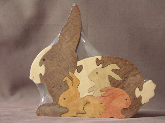 Bunny with Babies Easter Animal Puzzle  Wooden Toy Hand  Cut with Scroll Saw. $13.49, via Etsy.