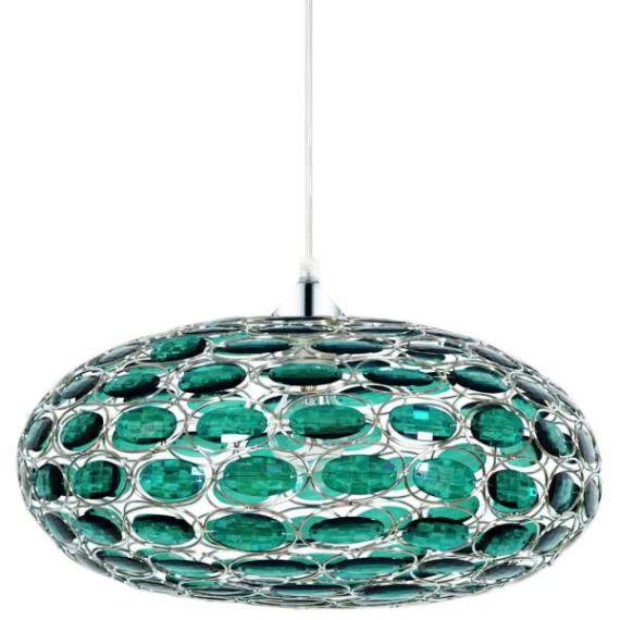 LAMPA wisząca BELFAST 31-03096 Candellux metalowa OPRAWA z kryształkami crystal zielony