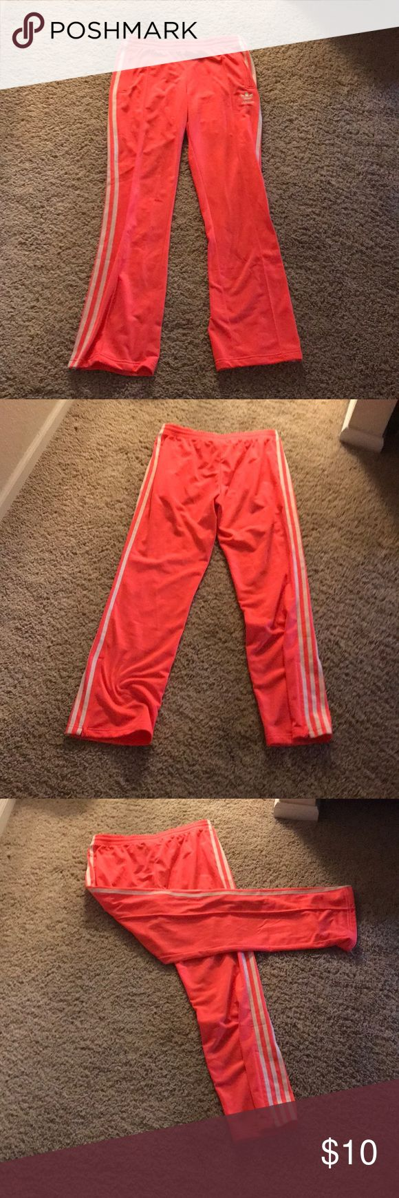 Adidas neon pants These are peach colored joggers that are in good condition. I bought it in a set but these didn't fit me right adidas Pants Track Pants & Joggers