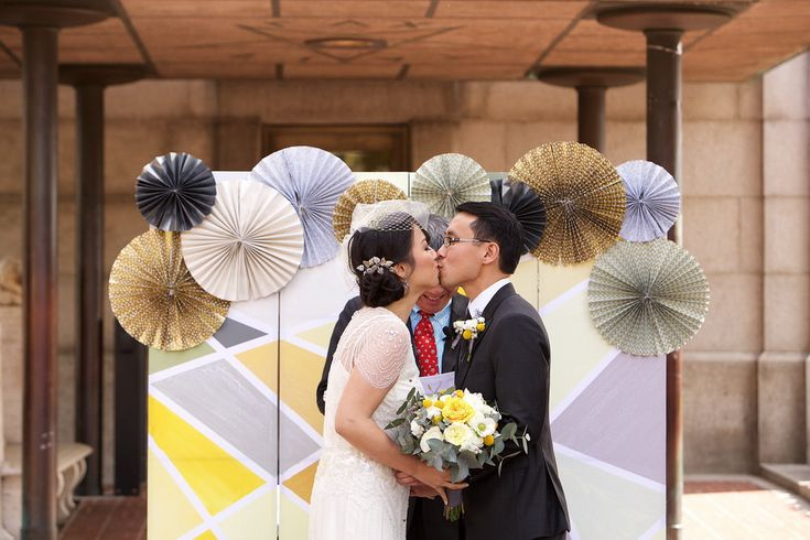 Newly wed couple kissed each other
