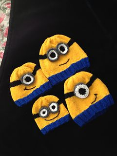 Minion hats! Free pattern on Ravelry