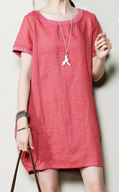 Pink short sleeve sundresses oversize shift dress maternity dresses shirt