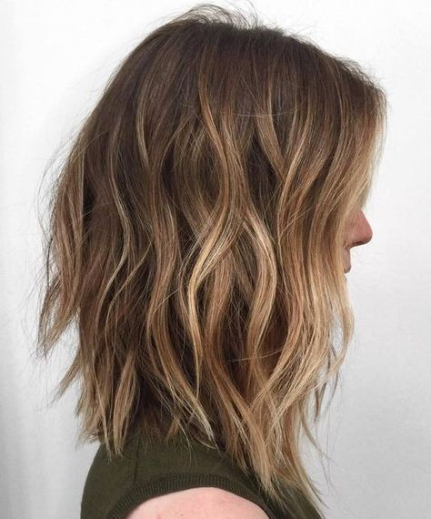 Choppy Lob Hair Styles with Light Brown - Ombre Balayage Medium Hairstyles 2017