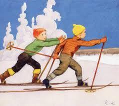 Vintage Rudolf Koivu Christmas Card ~ Orange Accents
