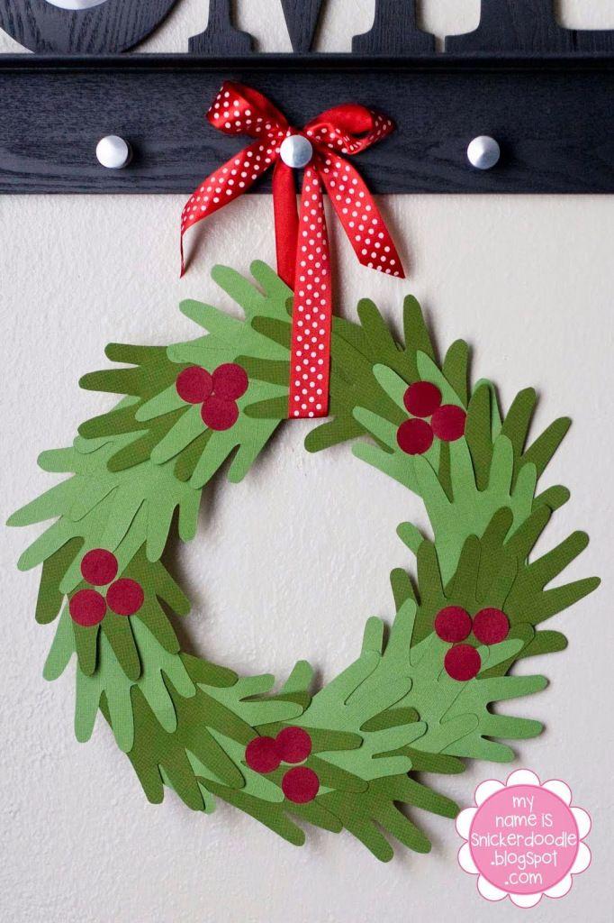 Kid handprint christmas wreath