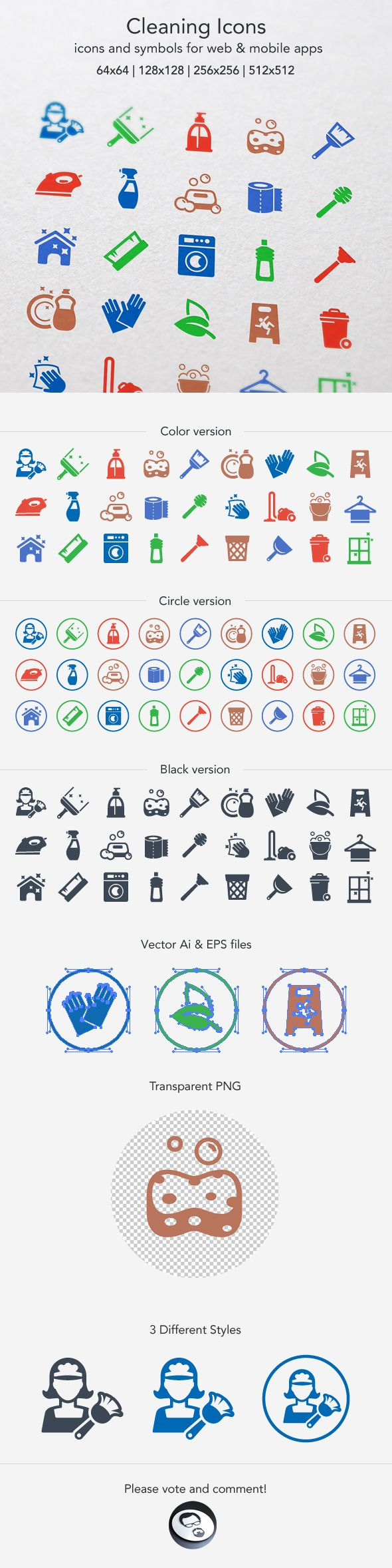 Cleaning Icons by Artem Ottoson, via Behance